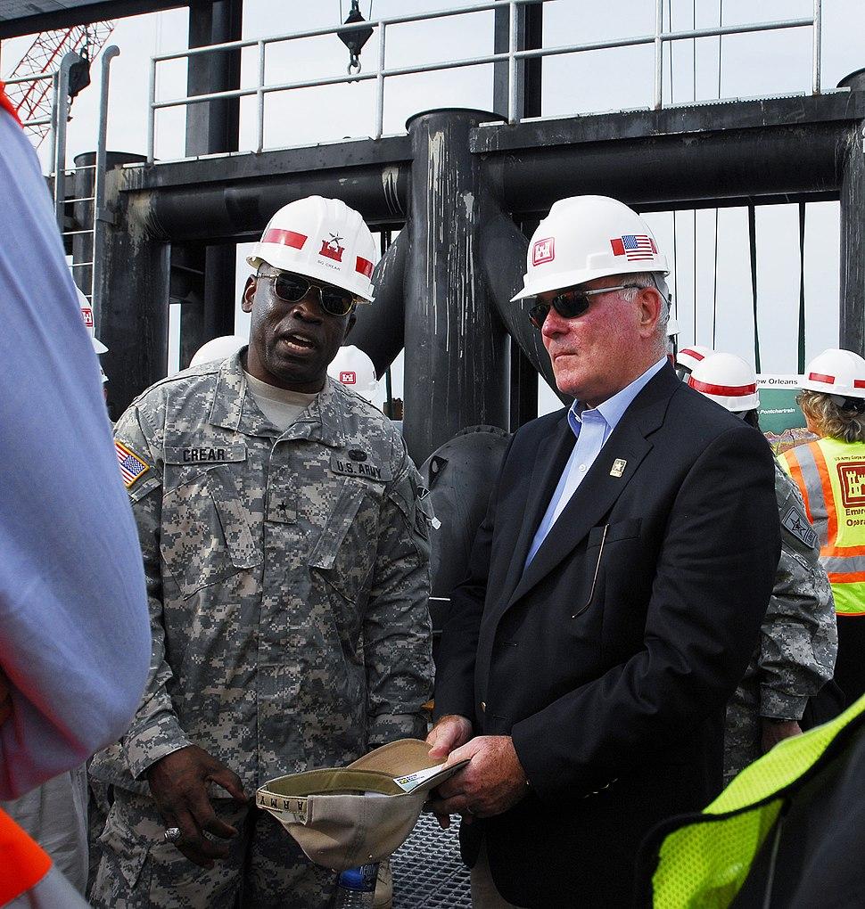 Secretary Harvey and Brig. Gen. Crear, Oct. 2 2006, in New Orleans