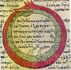 Featuring an ouroboros, a snake or dragon biting its own tail, a digital representation of a copy of a 1478 drawing by Theodoros Pelecanos of an alchemical tract attributed to Synesius.