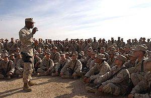 John L. Estrada - Estrada orating to U.S. Marines at the Iraqi city of Fallujah in 2005.