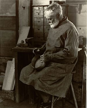 Shaker-style pantry box - Brother Ricardo Belden making oval boxes in a workshop at the Hancock Shaker Village, Massachusetts in 1935