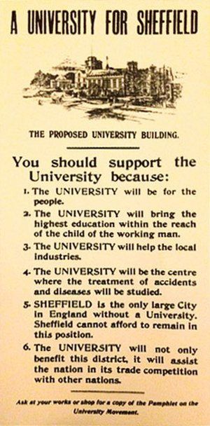 University of Sheffield - The poster which helped raise funds for the University (1904/1905)