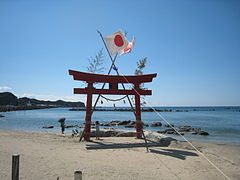 Shinto temple on Katsuura beach.JPG