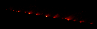 Roche limit - Comet Shoemaker-Levy 9 was disintegrated by the tidal forces of Jupiter into a string of smaller bodies in 1992, before colliding with the planet in 1994.