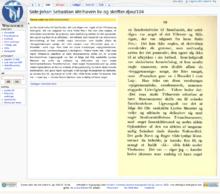 Screenshot van de Noorse Wikisource.  De tekst kan worden gezien aan de linkerzijde van het scherm met de gescande afbeelding rechts weergegeven.
