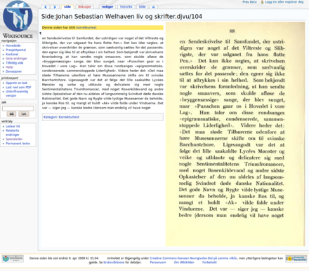 The Proofread Page extension in action. Side pa Wikikilden.png