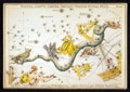 Sidney Hall - Urania's Mirror - Noctua, Corvus, Crater, Sextans Uraniæ, Hydra, Felis, Lupus, Centaurus, Antlia Pneumatica, Argo Navis, and Pyxis Nautica (whole card).png