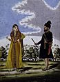 Sikh soldier and wife outside barracks. Gouache drawing. Wellcome V0045347.jpg