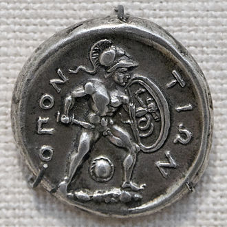 Opuntian Locris - Reverse of a silver stater of Opuntian Locris depicting Ajax the Lesser.