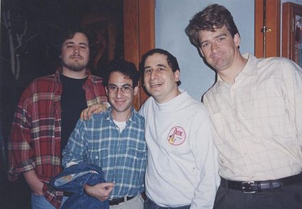 Oakley (left) along with Weinstein, Mike Reiss and Jeff Martin in 1994. Simpsons writers1.jpg