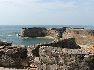 Maratha Navy - The Sindhudurg Fort near the Maharashtra-Goa border, one of the several naval fortifications built by the Maratha Navy