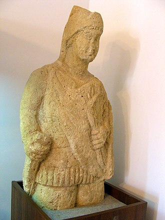 Sindi people - Sindi warrior statue. Limestone, I A.D. Kerch Archaeology Museum.