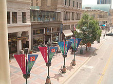 View of Nicollet Mall from the skyway. Street banners in view made by Banner Creations, Inc.