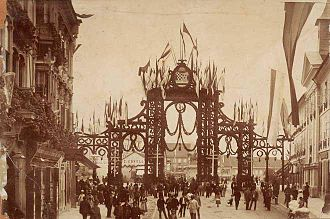 1895 visit of Emperor Franz Joseph to Zagreb - The main triumphal arch, erected for the occasion, was decorated with a Hungarian flag, which was widely resented among the Croatian opposition.