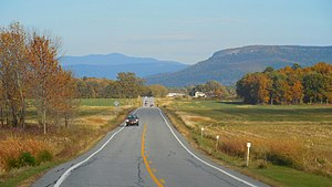 Addison County, Vermont - Eastern view from VT Route 17 in Addison of Snake Mountain (right) and Mount Abraham (center).
