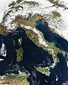 Snow, which tends to be generally less bright that clouds, covers the Alps in the north of Italy. Original from NASA. Digitally enhanced by rawpixel. - 46310518752.jpg