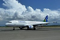 Solomon Airlines Airbus A320-211 at Honiara Airport in 2012.JPG