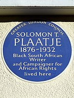 Solomon T. Plaatje 1876-1932 - Greater London Council Blue Plaque.jpg