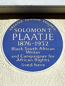 Solomon t. plaatje 1876 1932   greater london council blue plaque