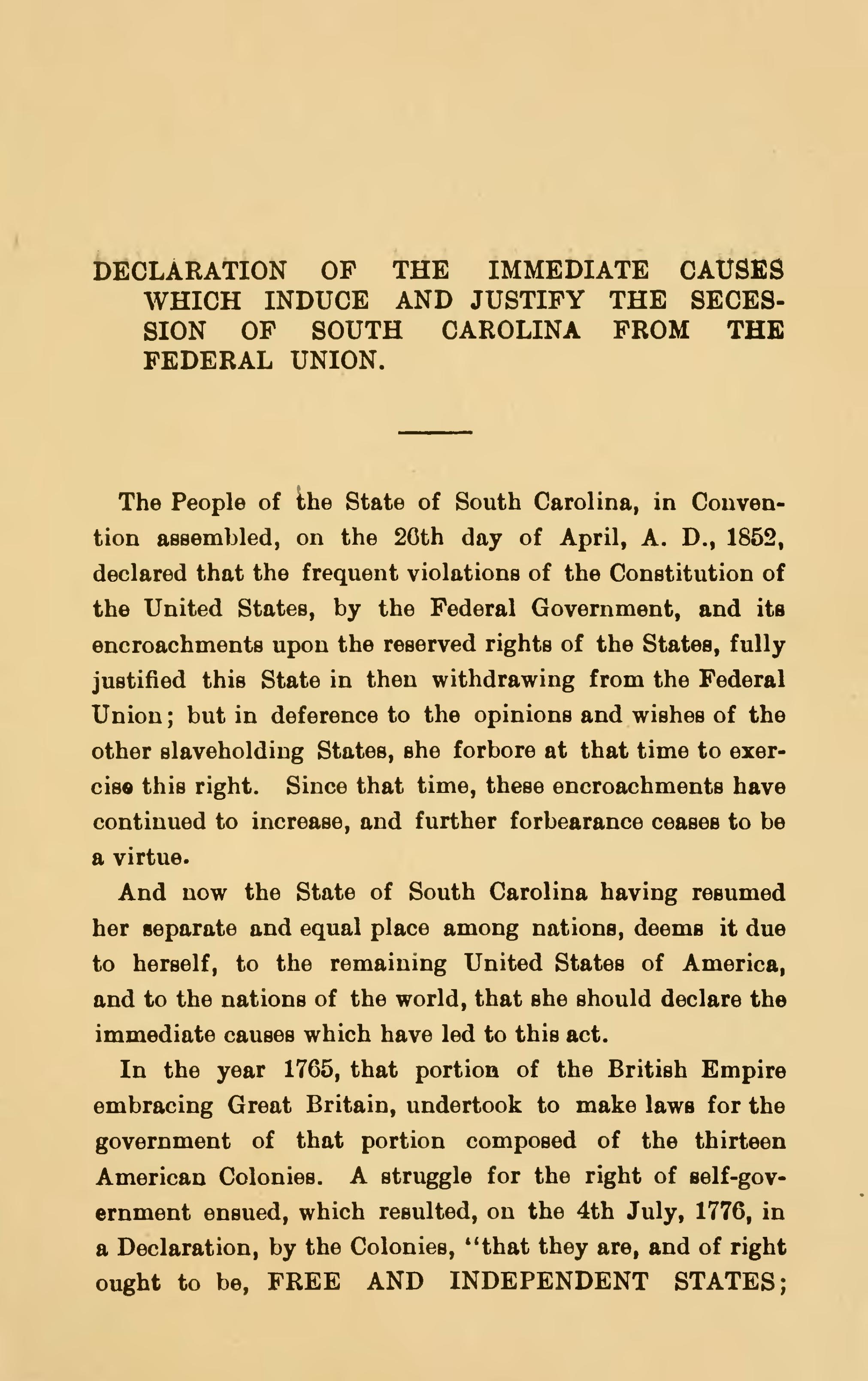 page south carolina declaration and ordinance of secession