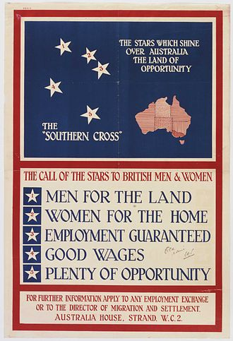Immigration to Australia - Australian Government poster issued by the Overseas Settlement Office to attract immigrants (1928).