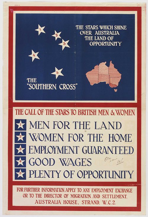 Australian Government poster issued by the Overseas Settlement Office to attract British immigrants (1928).