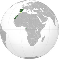 Territories and colonies of the Spanish State: *      Spain, Ifni, Western Sahara and Guinea *      Protectorate in Morocco *      Tangier International Zone
