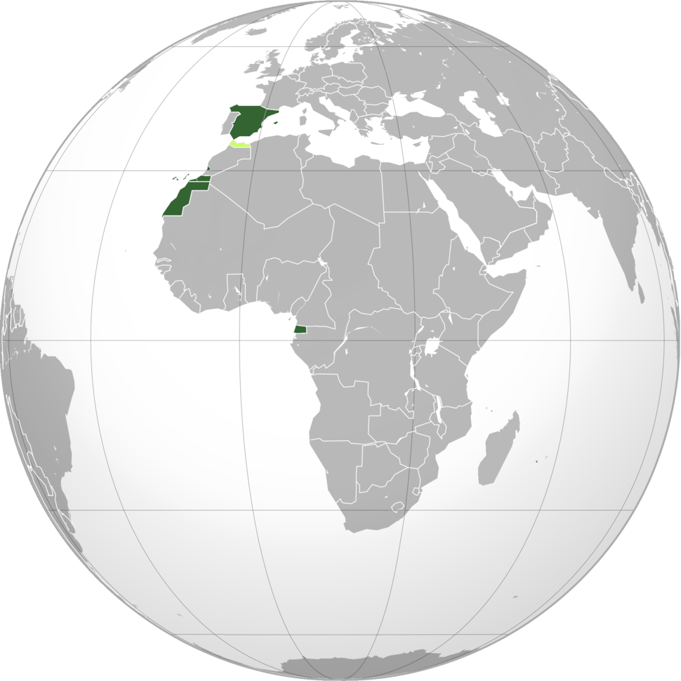 Territories and colonies of the Spanish Republic: *   Spain, Sahara and Guinea    *   Protectorate of Morocco      *   International Zone of Tangier