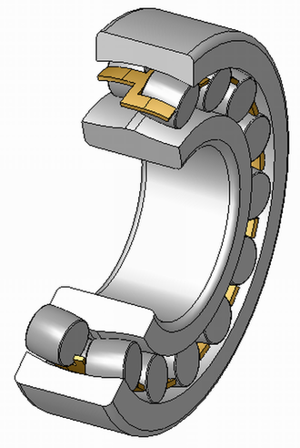 Spherical roller bearing - Spherical roller bearing with a brass cage in a cut-through view