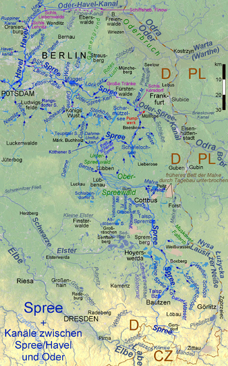 Spree Wikipedia - Germany map of rivers