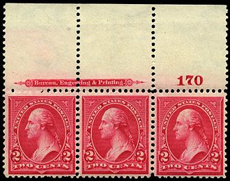 Plate block - A plate strip of 3 of the 2-cent US stamp of 1895 includes the BEP's name.