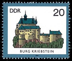 Kriebstein Castle - Briefmarke der Deutschen Post der DDR aus der Serie Burgen