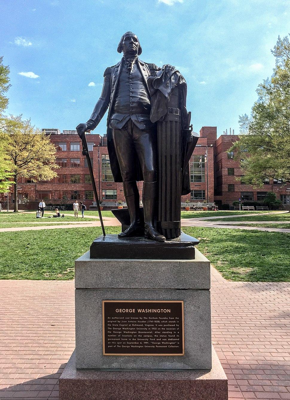 Statue of George Washington in University Yard, George Washington University