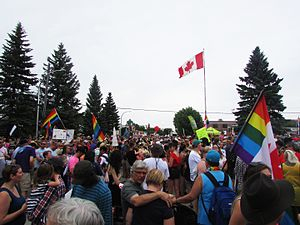 Steinbach, Manitoba - The first Steinbach Pride parade in 2016.