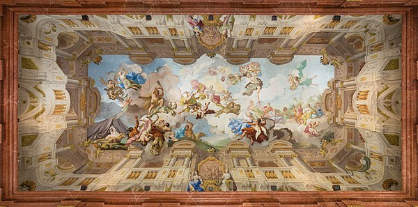 Ceiling fresco in the Marble Hall of Melk Abbey (Lower Austria) by Paul Troger (1731)