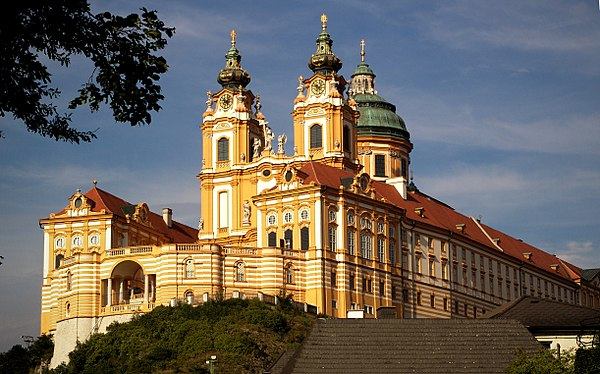 Melk Abbey--adjoining Wachau Valley, Lower Austria--exemplifies the Baroque style. Stift melk 001 2004.jpg