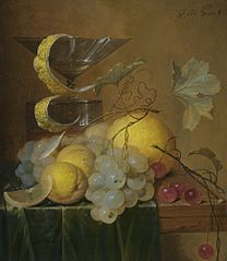 Still Life with a Wine Glass, Lemon Peel, Peaches, Grapes and Cherries on the Corner of a Partly Draped Wooden Table
