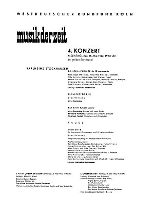 Momente - Programme for the world premiere of Momente (first version), on 21 May 1962