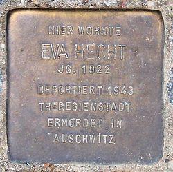 Photo of Eva Hecht brass plaque