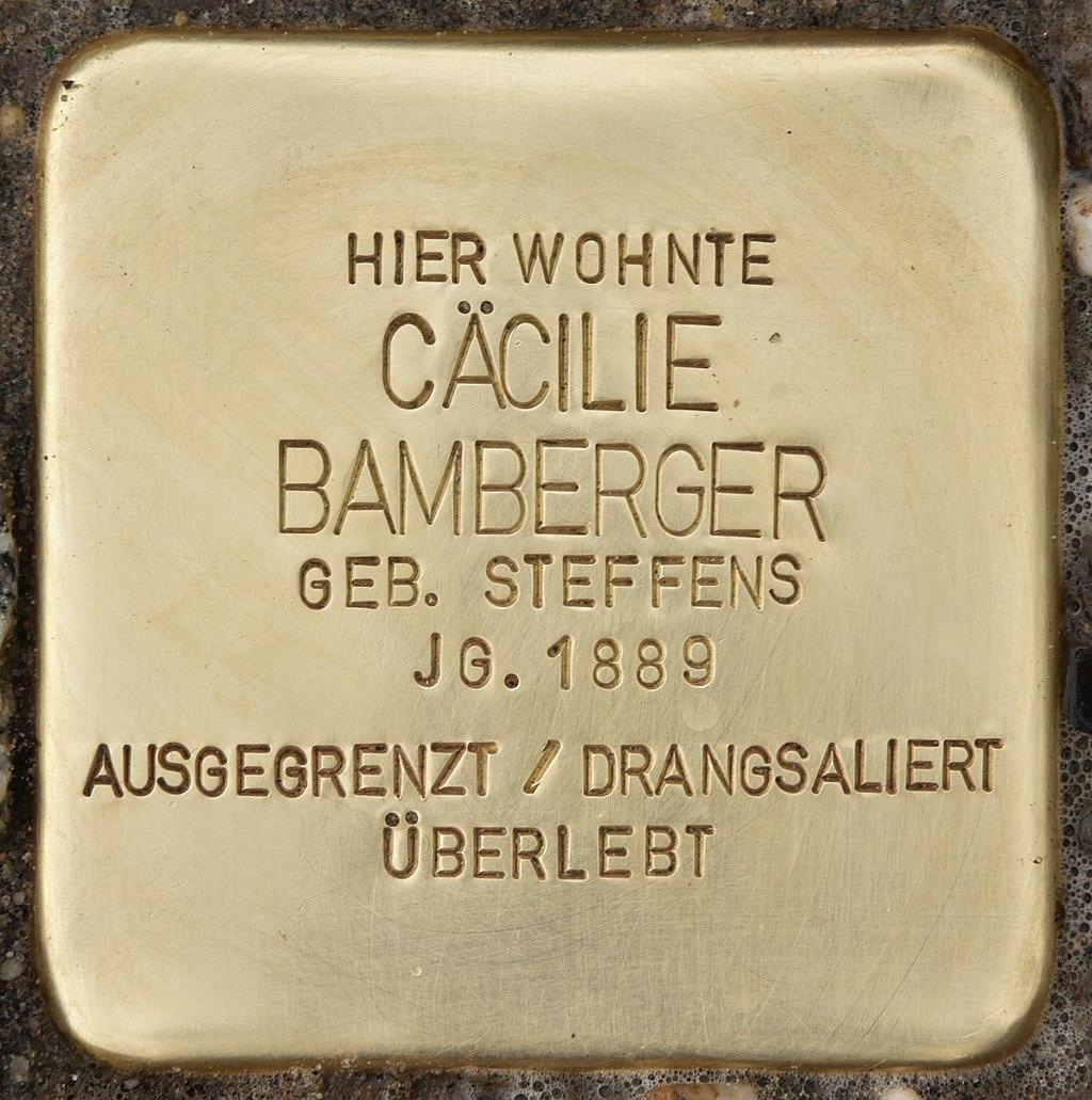 Stolperstein für Cäcilie Bamberger (Remmels).jpg