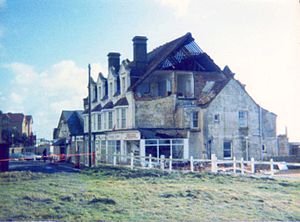 Great Storm of 1987 - Storm damaged building, Barton on Sea in Hampshire