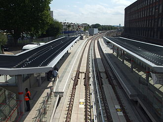 Stratford High Street DLR station - Platforms looking south.