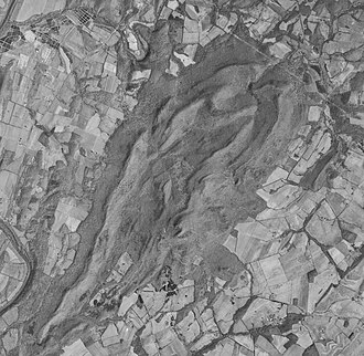 Sugarloaf Mountain (Maryland) - 1971 air photo, showing the complex structure.  Width of image is approximately 4.7 miles.