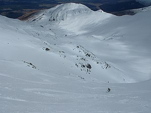 Aonach Mòr - A skier in Summit Gully, one of the easier off piste runs on Aonach Mor