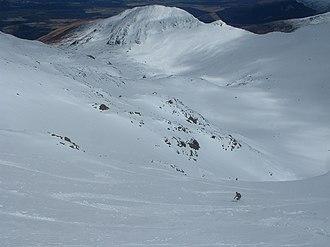 Aonach Mòr - A skier in Summit Gully, one of the easier off piste runs on Aonach Mor