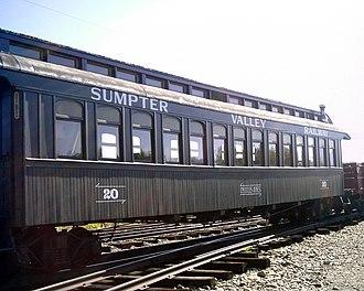 Sumpter Valley Railway - Image: Sumpter Valley Railway railcar Sumpter Oregon