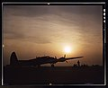 Sunset silhouette of flying fortress, Langley Field, VA 1a35090u original.jpg