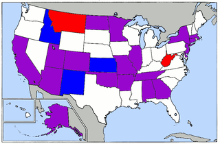 Twenty-four states are holding caucuses or primary elections on Super Tuesday, 2008. Blue denotes Democratic-only caucuses (3), Red illustrates Republican-only contests (2), and Purple represents states holding elections for both parties (19).