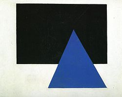 Kasimir Malevitx: Suprematist Composition (with blue triangle and black rectangle)