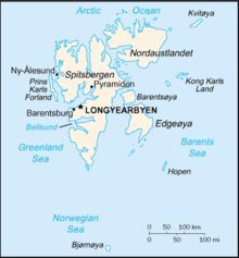 Major islands in the Spitsbergen group identified by name