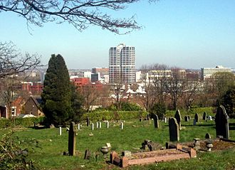 Swindon - Image: Swindon town centre, taken from Radnor Street Cemetery, Spring 2012